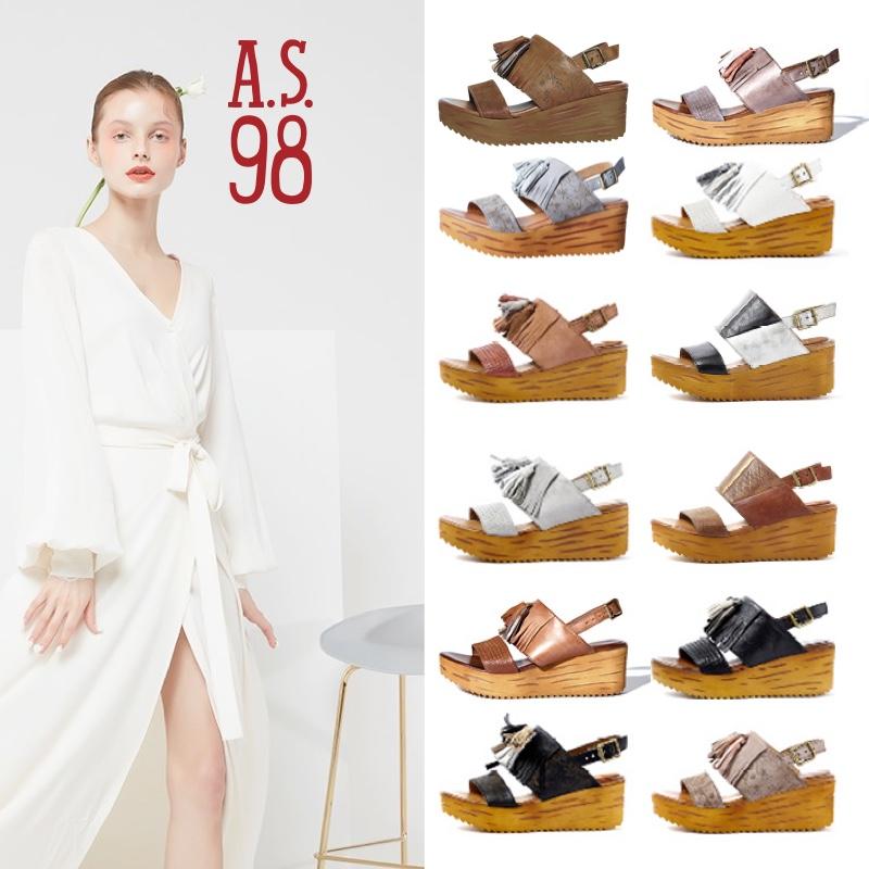 凉鞋松糕鞋 A.S.98意大利进口上海现货FANIA女款流苏配饰松糕凉鞋673_推荐淘宝好看的女凉鞋松糕鞋