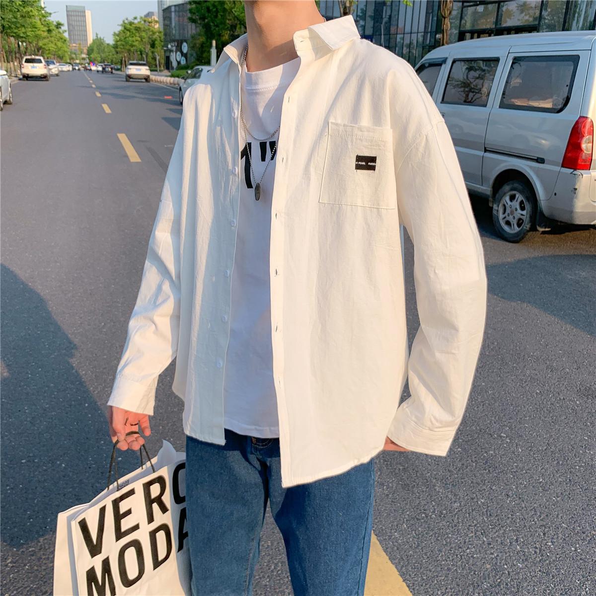 男士长袖衬衫 白衬衫男长袖韩版潮流宽松bf风寸衫帅气学生百搭日系港风衬衣外套_推荐淘宝好看的男长袖衬衫