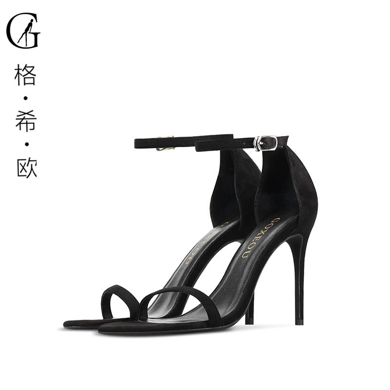 黑色凉鞋 GOXEOU格希欧大小码夏季新款圆头细跟一字带绒面黑色帮带凉鞋女_推荐淘宝好看的黑色凉鞋