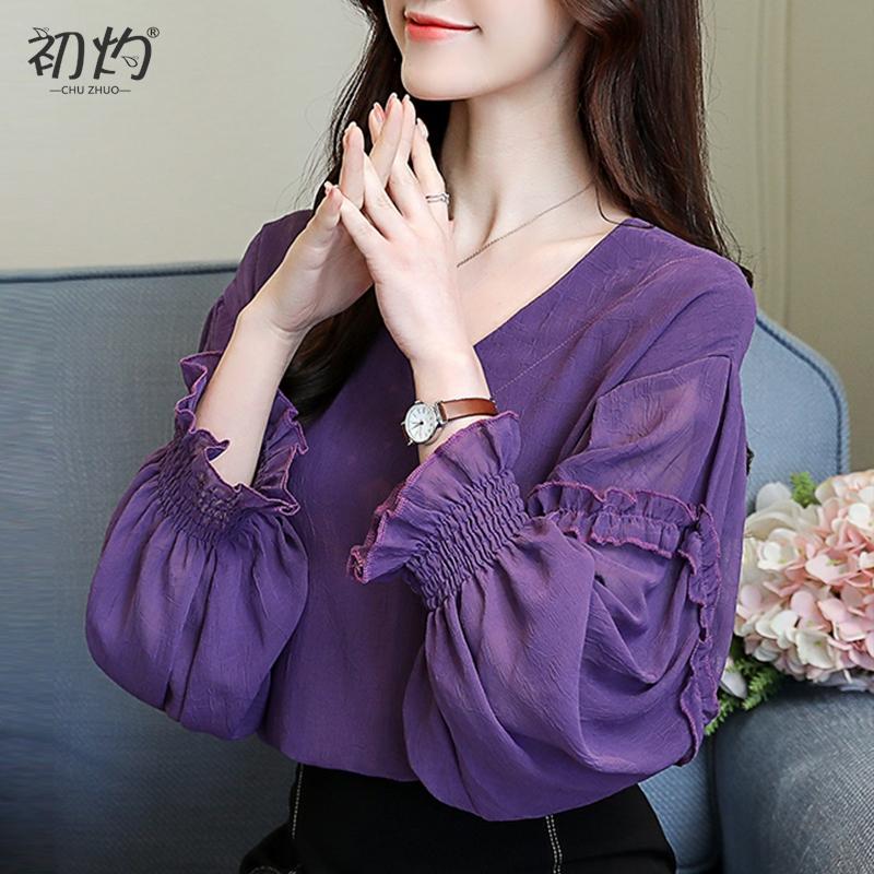 紫色雪纺衫 2021秋季飘逸洋气小心机V领紫色上衣女长袖雪纺衫灯笼袖超仙小衫_推荐淘宝好看的紫色雪纺衫