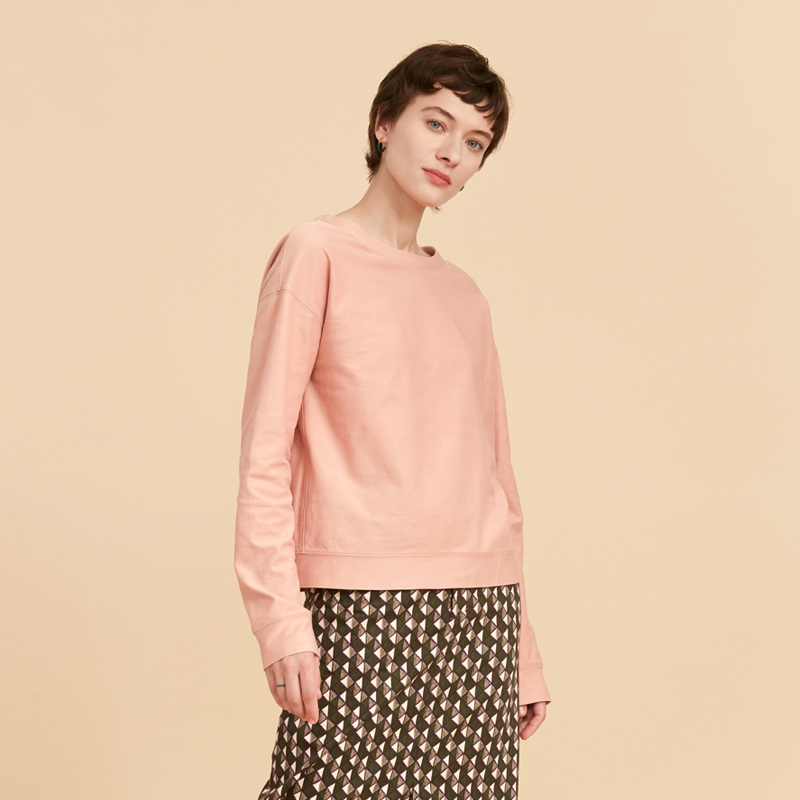 粉红色卫衣 ise 春秋季新款  粉红色棉质圆领长袖休闲舒适卫衣女K1931008_推荐淘宝好看的粉红色卫衣