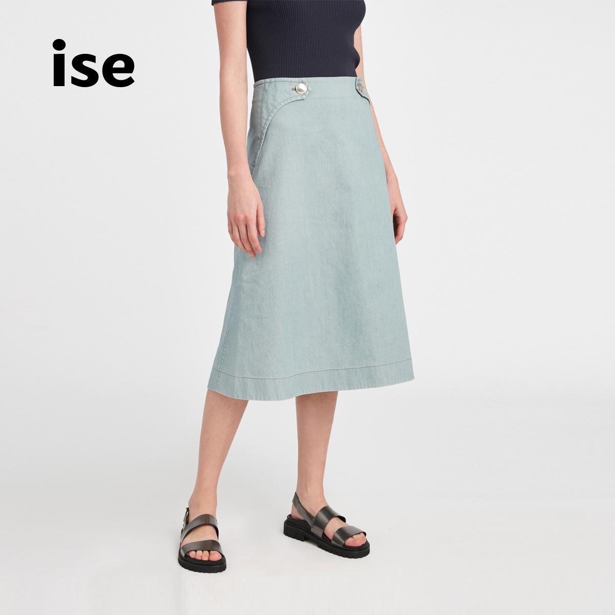 外贸牛仔半身裙 ise  新款牛仔色棉质半身裙中长款女士半裙显瘦N1920513_推荐淘宝好看的牛仔半身裙