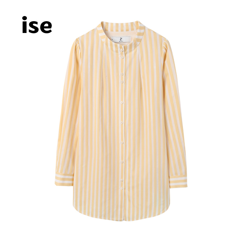 女士长款衬衫 ise衬衫女长袖新款 圆领纯棉单排扣中长款上衣P1940102_推荐淘宝好看的女长款衬衫
