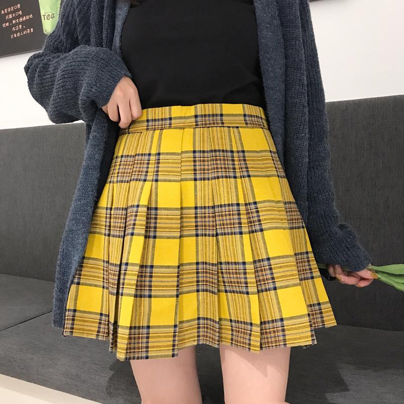 黄色半身裙 2020夏季新款大格子半身裙日系学院风百褶裙高腰防走光短裙显瘦女_推荐淘宝好看的黄色半身裙