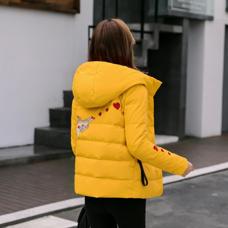 黄色羽绒服 羽绒服女短款2020新款女士花色刺绣小款黄色修身厚白鸭绒冬季外套_推荐淘宝好看的黄色羽绒服