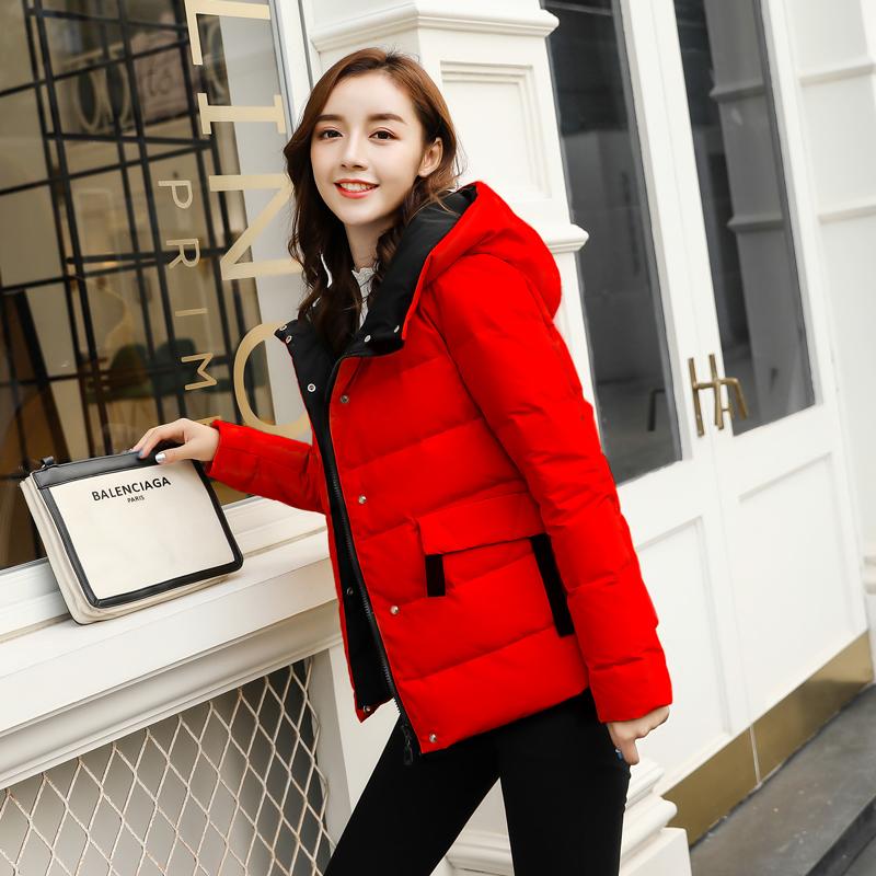 红色羽绒服 红色羽绒服女短款2020年新款时尚高端韩版女士白鸭绒小个子外套潮_推荐淘宝好看的红色羽绒服