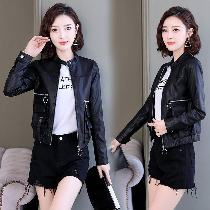 皮衣 黑色皮衣女短款搭配2020春季新款韩版机车皮外套拉链矮个子pu皮服_推荐淘宝好看的女皮衣