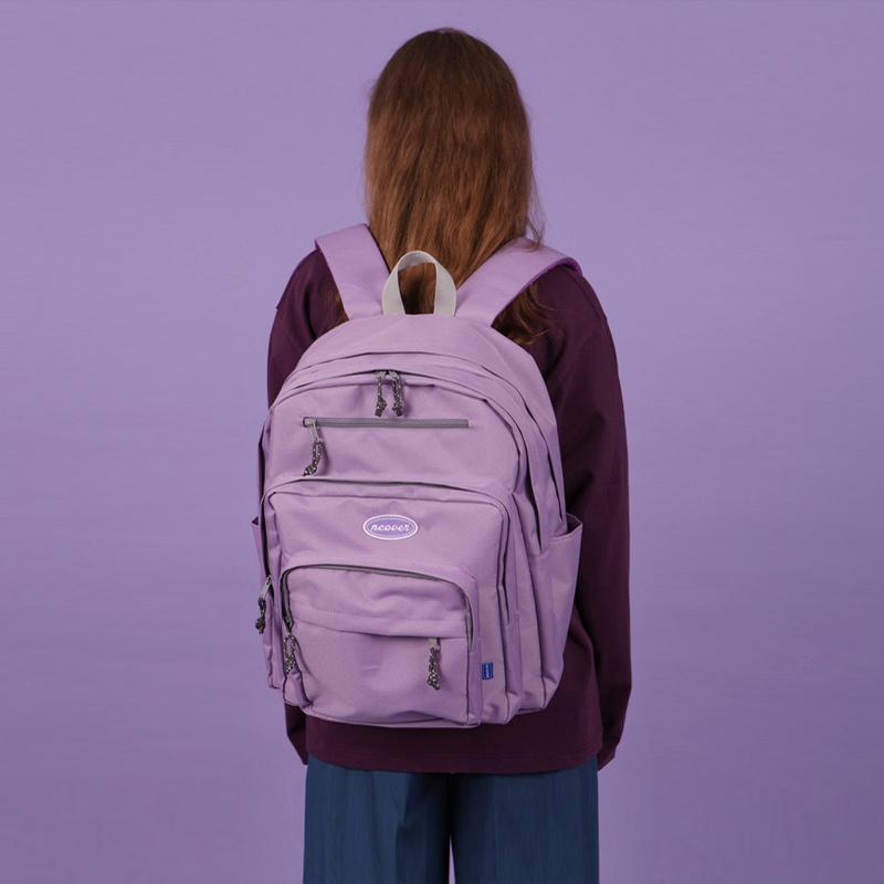 紫色双肩包 韩版双肩包女背包高中学生书包大容量旅游出差行李休闲轻便旅行包_推荐淘宝好看的紫色双肩包