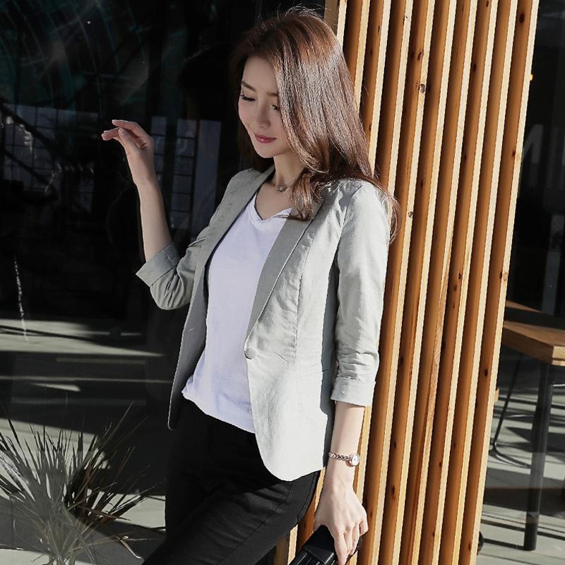 小西装外套 棉麻小西装女外套短款2021春夏新款韩版修身七分袖休闲小西服薄款_推荐淘宝好看的女小西装外套