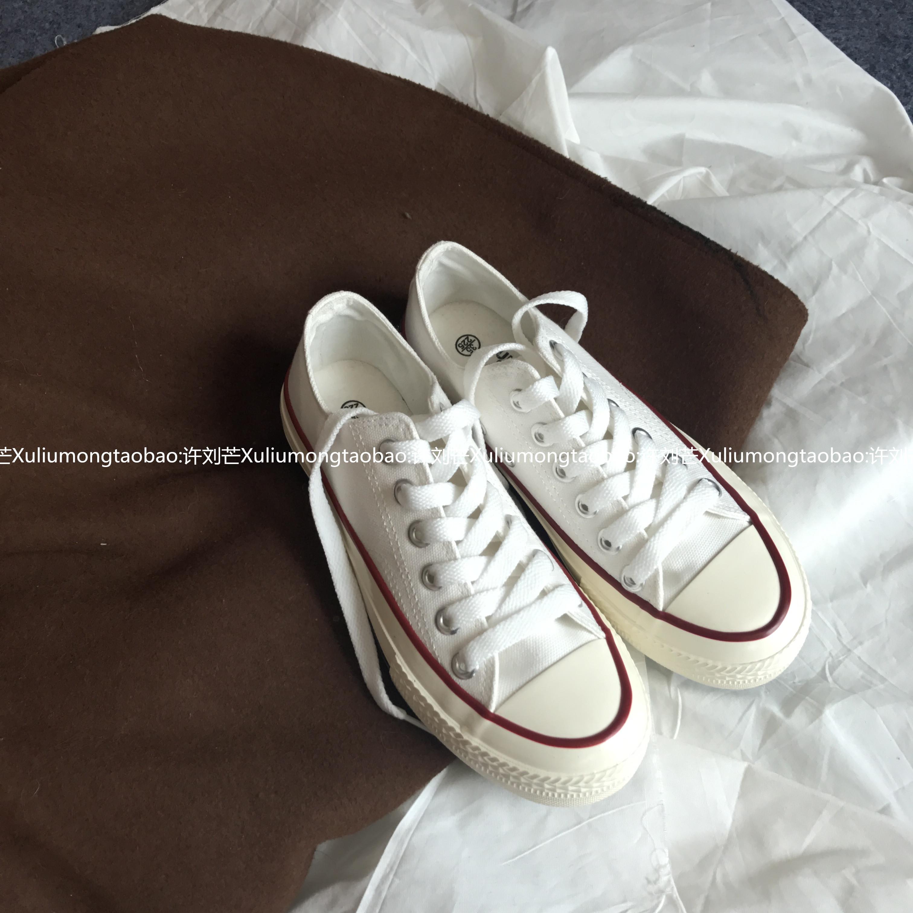 白色帆布鞋 许刘芒 韩国街拍万年经典款百搭复古1970s复刻白色低帮帆布鞋女_推荐淘宝好看的白色帆布鞋
