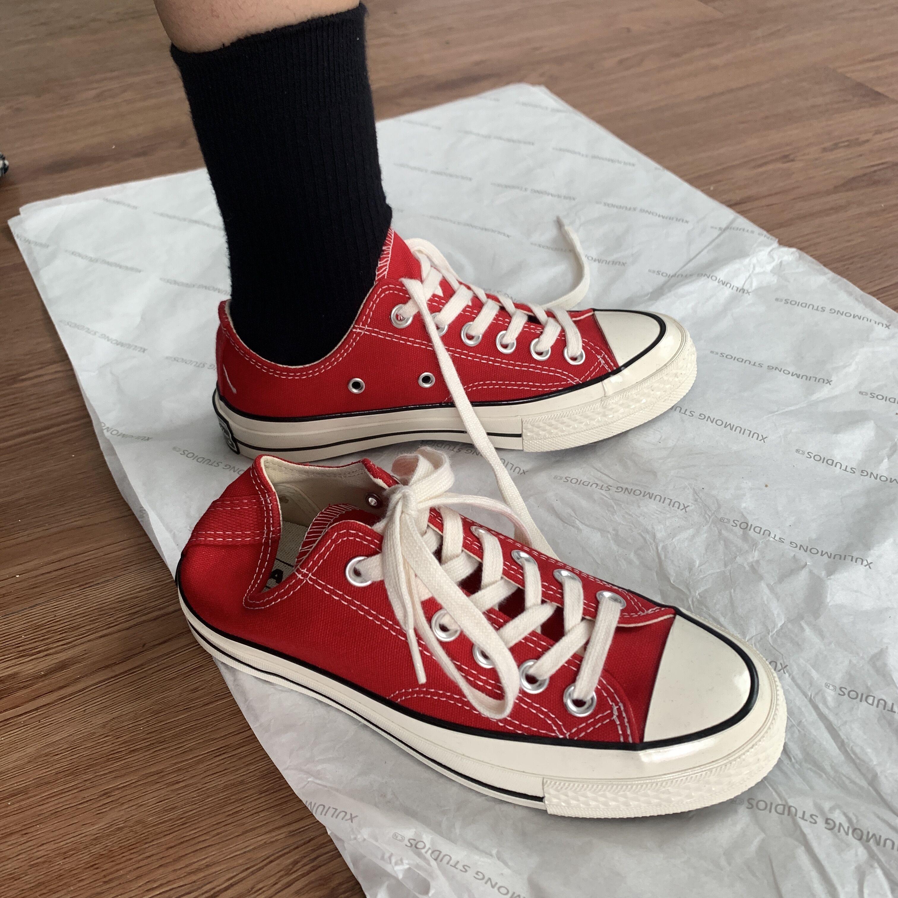 红色帆布鞋 许刘芒 韩国ulzzang百搭复古红色1970s基础款低帮帆布鞋港风工装_推荐淘宝好看的红色帆布鞋
