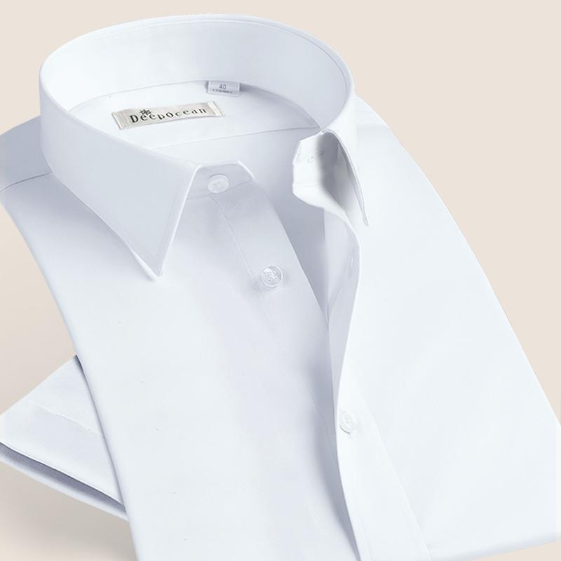 白色衬衫 纯棉纯色白衬衫男短袖正装商务休闲修身全棉白色衬衣男士半袖夏季_推荐淘宝好看的白色衬衫