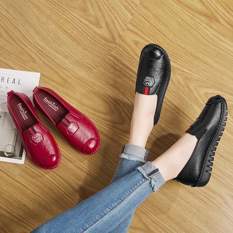 红色豆豆鞋 红色单鞋女中老年豆豆鞋软底舒适妈妈皮鞋防水防滑食堂厨房工作鞋_推荐淘宝好看的红色豆豆鞋