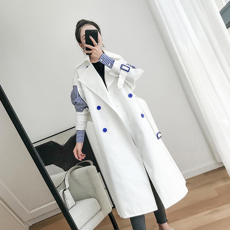 白色风衣 白色风衣女中长款2020秋新款韩版收腰拼接品牌高端大气假两件外套_推荐淘宝好看的白色风衣