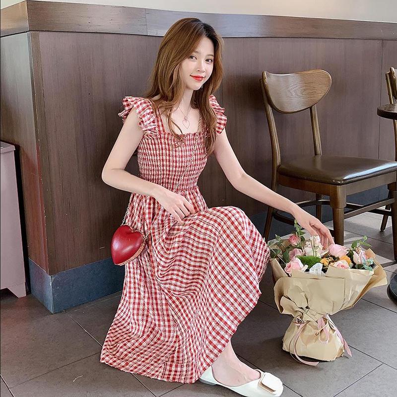 红色连衣裙 含棉 小格子连衣裙2020新款春夏a字吊带裙无袖智熏裙法式桔梗裙子_推荐淘宝好看的红色连衣裙