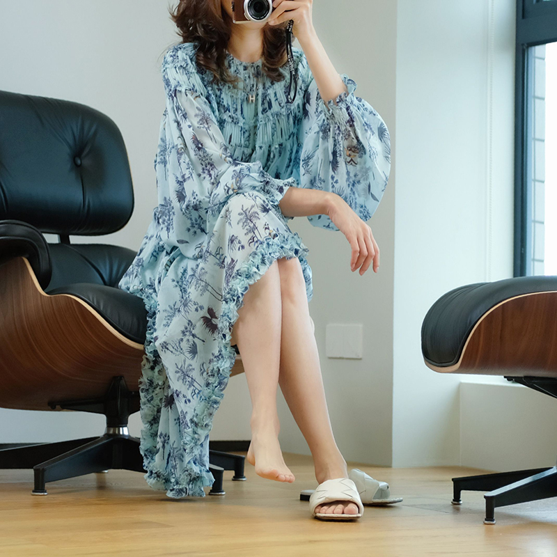 夏季长袖连衣裙 【细节精美】毛须边层叠!薄荷之夏,清爽蓝真丝印花,长袖连衣裙_推荐淘宝好看的夏长袖连衣裙