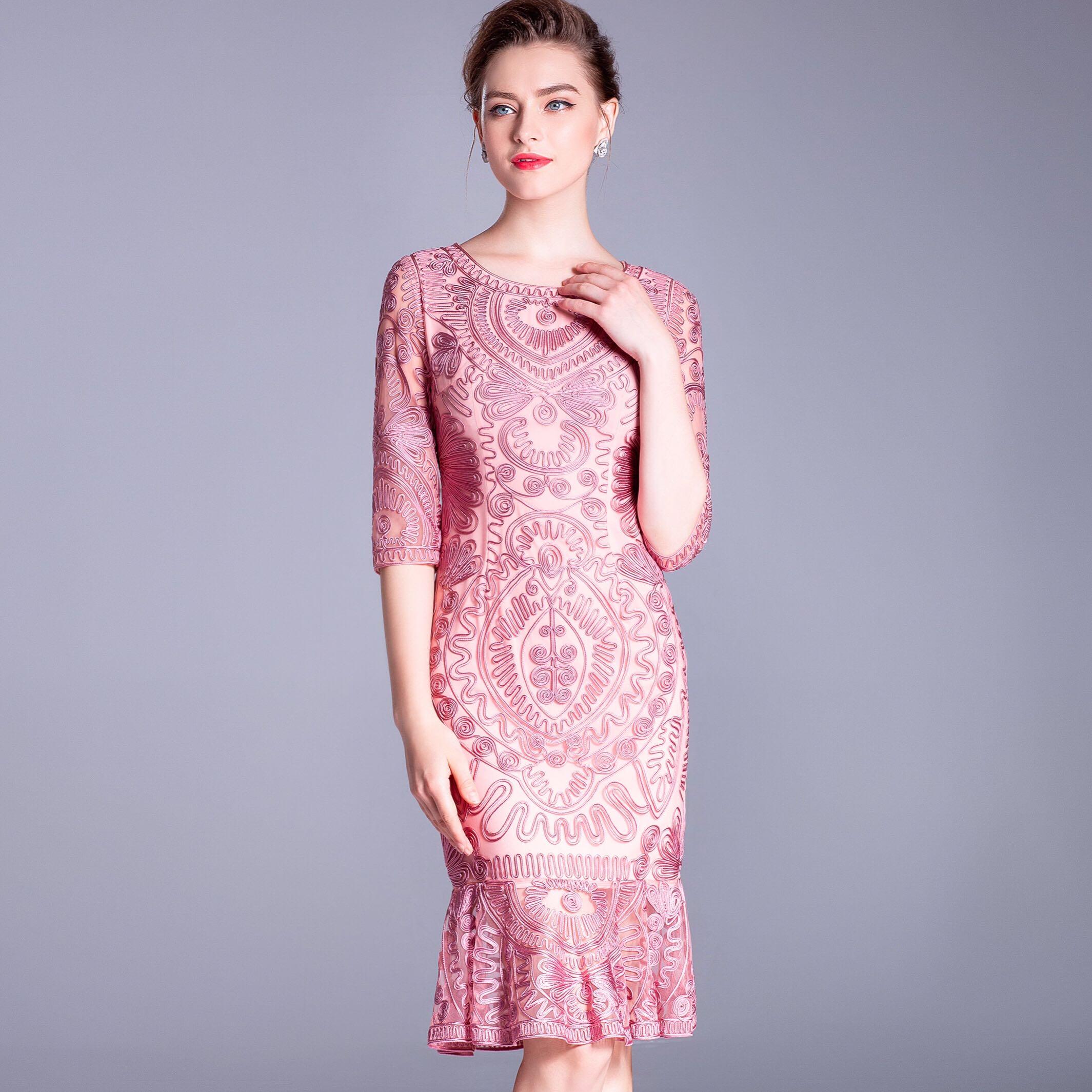 八分袖连衣裙 新款2019欧美品牌大码女装网纱刺绣八分袖包臀鱼尾连衣裙_推荐淘宝好看的八分袖连衣裙
