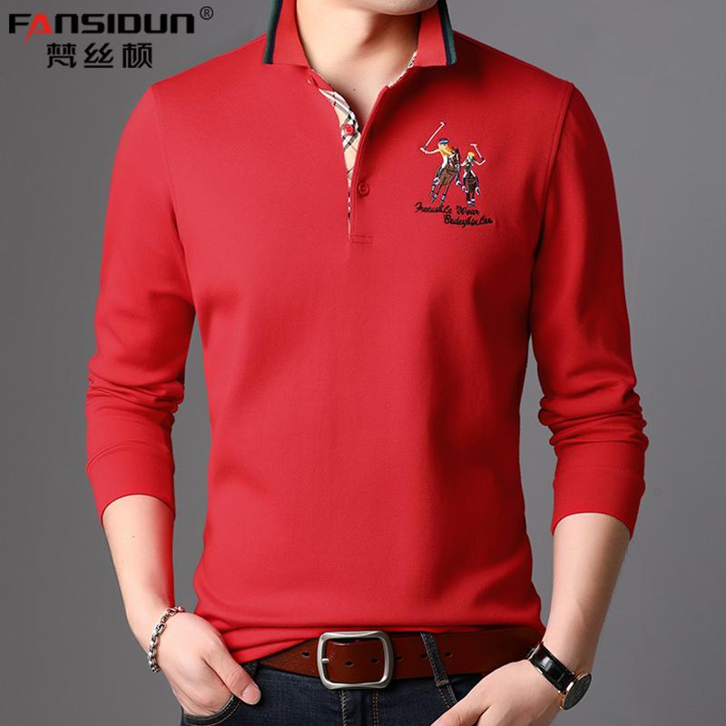 长袖polo衫 POLO衫男长袖t恤春夏薄款本历年本命年红色衣服休闲潮带领纯棉t桖_推荐淘宝好看的男长袖polo衫