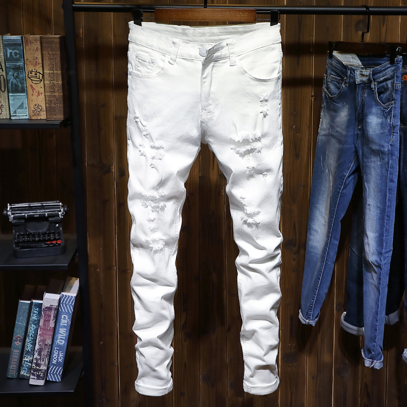 白色牛仔裤 白色破洞牛仔裤男修身小脚弹力时尚韩版潮流青年男士长裤子2021款_推荐淘宝好看的白色牛仔裤