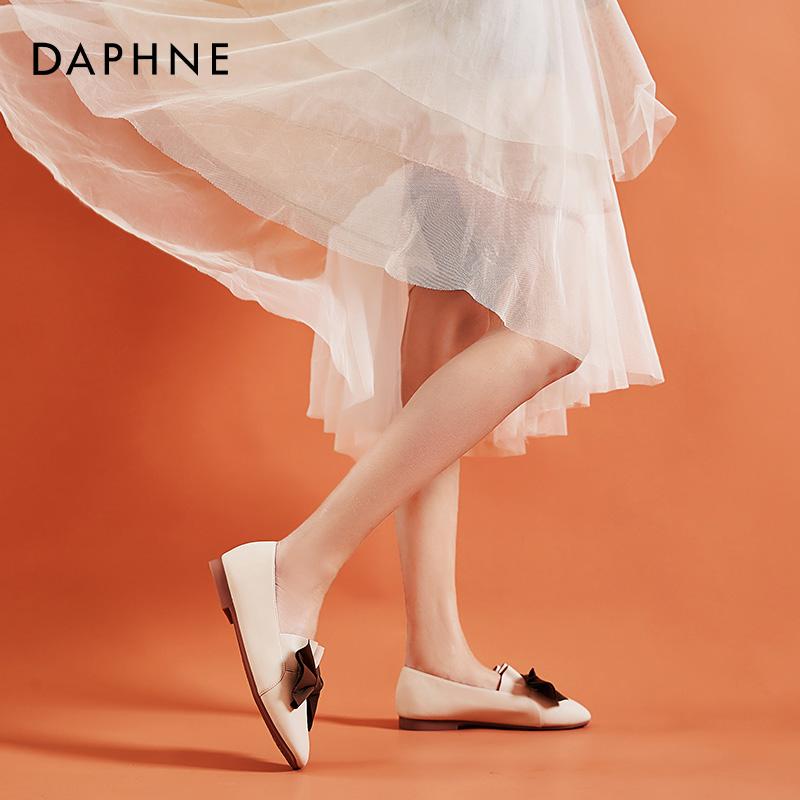 白色平底鞋 达芙妮白色平底单鞋女软皮软底低跟搭配裙子复古蝴蝶结方头奶奶鞋_推荐淘宝好看的白色平底鞋