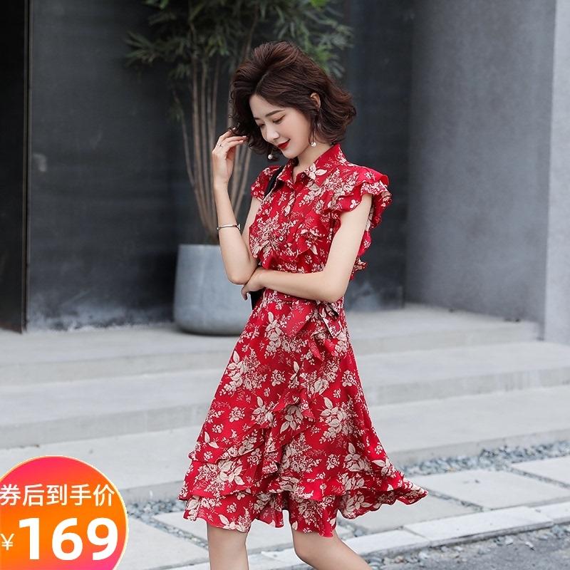 红色连衣裙 红色碎花连衣裙女2020夏季新款韩版花瓣短袖气质系带显瘦雪纺短裙_推荐淘宝好看的红色连衣裙