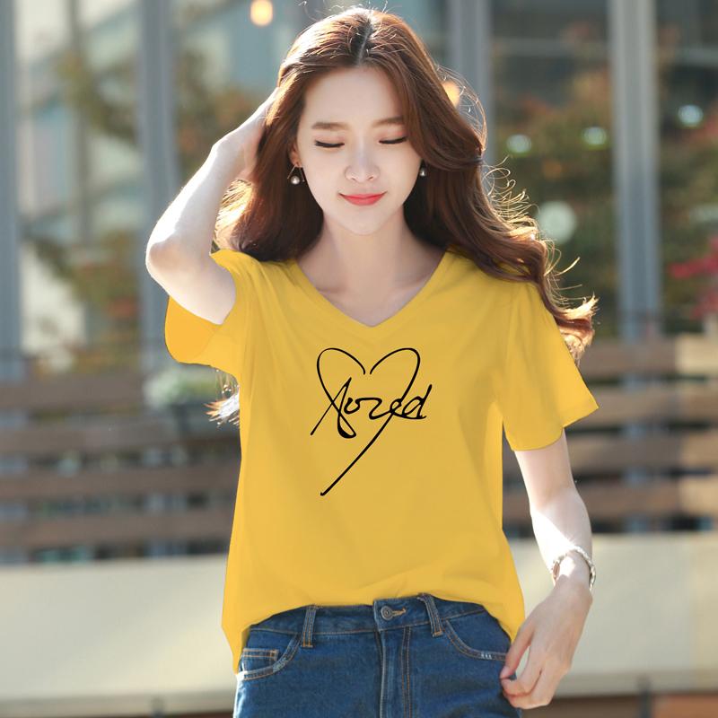 黄色T恤 姜黄色t恤女v领宽松短袖2021夏季新款韩版白色鸡心领ulzzang上衣_推荐淘宝好看的黄色T恤