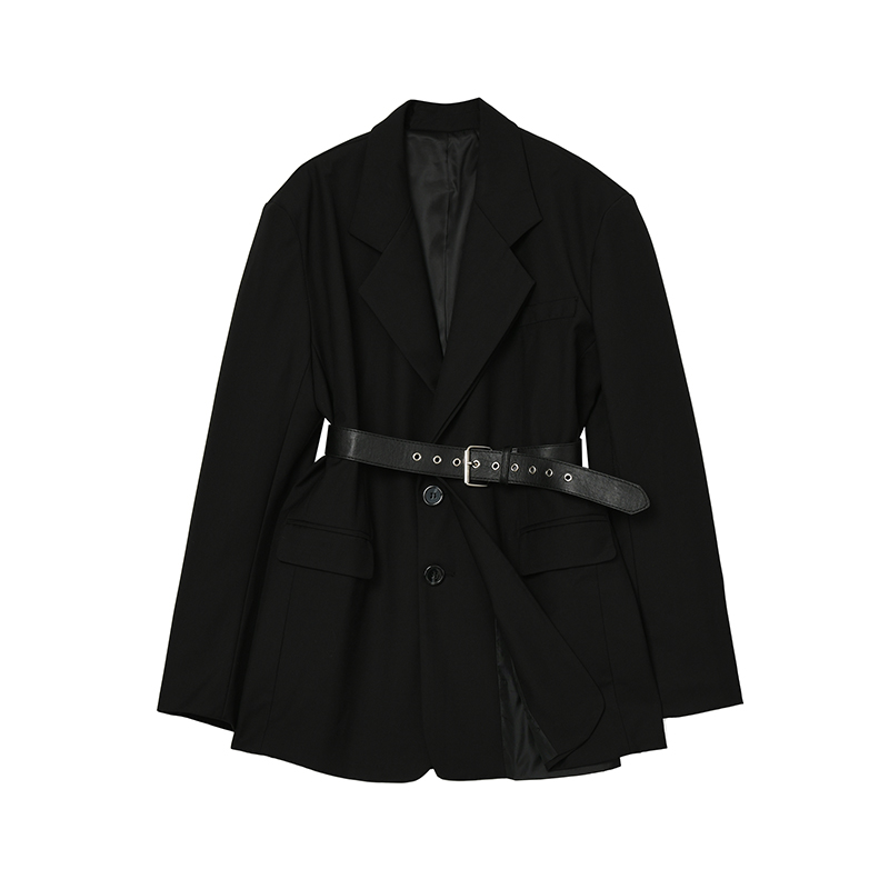 黑色小西装 Designer Plus 黑色法式小西装外套2021新款女复古英伦风收腰西服_推荐淘宝好看的黑色小西装