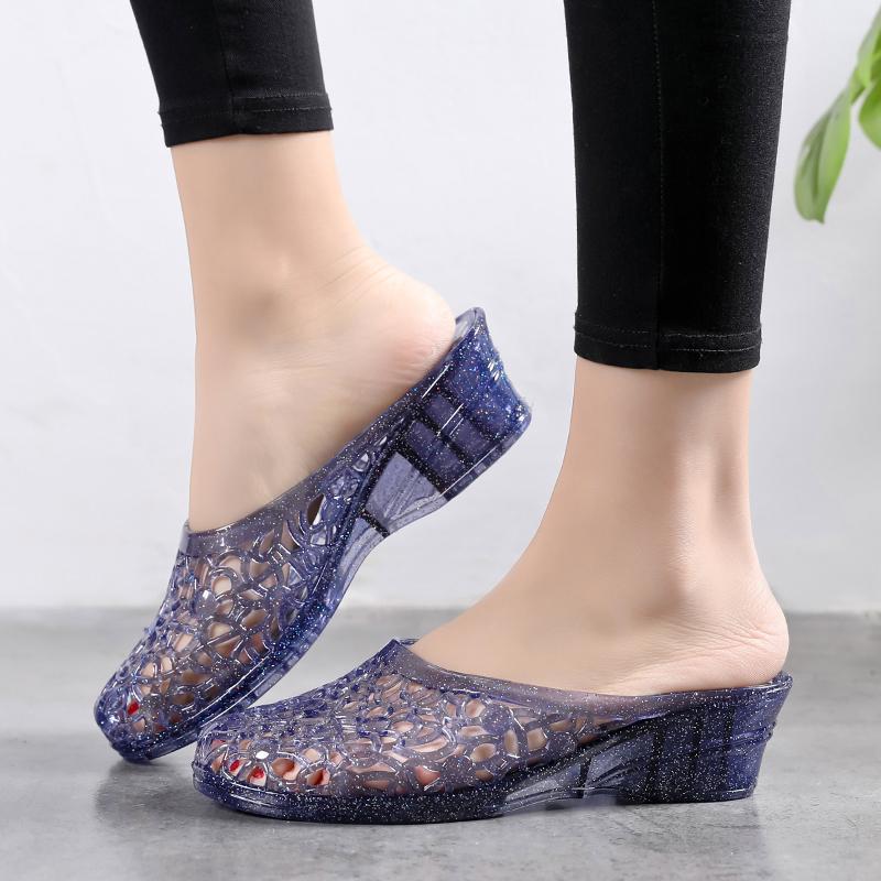 果冻坡跟鞋 夏季包头果冻水晶坡跟半拖鞋女士柔软透明塑料凉鞋外穿镂空洞洞鞋_推荐淘宝好看的果冻坡跟鞋