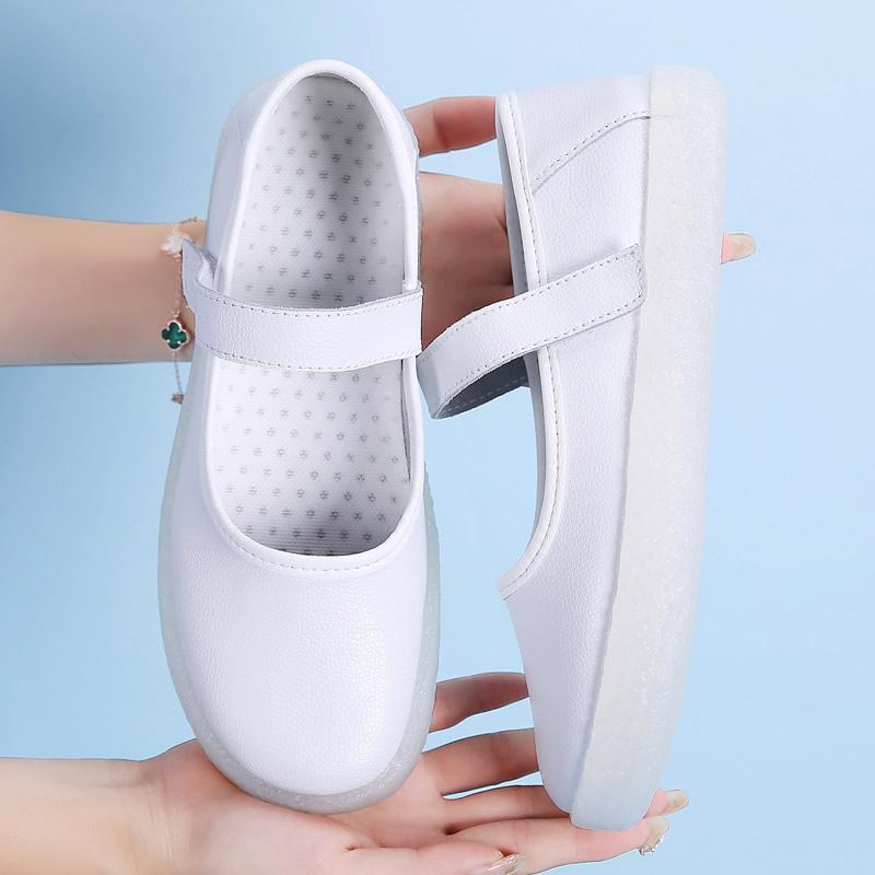 白色单鞋 护士鞋防滑镂空透气软底舒适工作鞋白色圆头浅口单鞋魔术贴平底鞋_推荐淘宝好看的白色单鞋