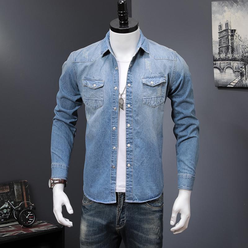 男式衬衫 2021春秋新款浅蓝牛仔衬衫男韩版潮流长袖衬衣ins超火的上衣男装_推荐淘宝好看的男衬衫
