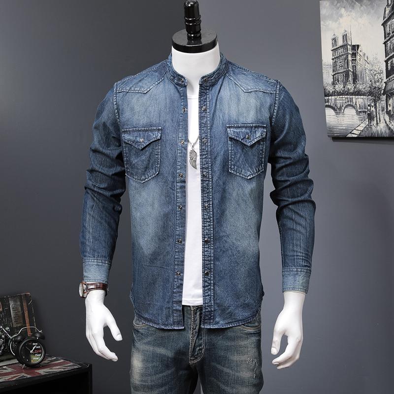 男士衬衫 2021春秋新款长袖牛仔衬衫男休闲薄款浅蓝衬衣韩版时尚潮流上衣服_推荐淘宝好看的男衬衫