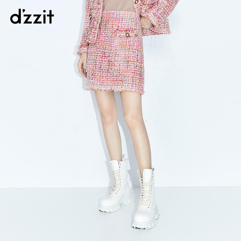 粉红色半身裙 dzzit地素 春秋专柜新款粉红色粗花呢半身a字短裙女3C3S2283G_推荐淘宝好看的粉红色半身裙