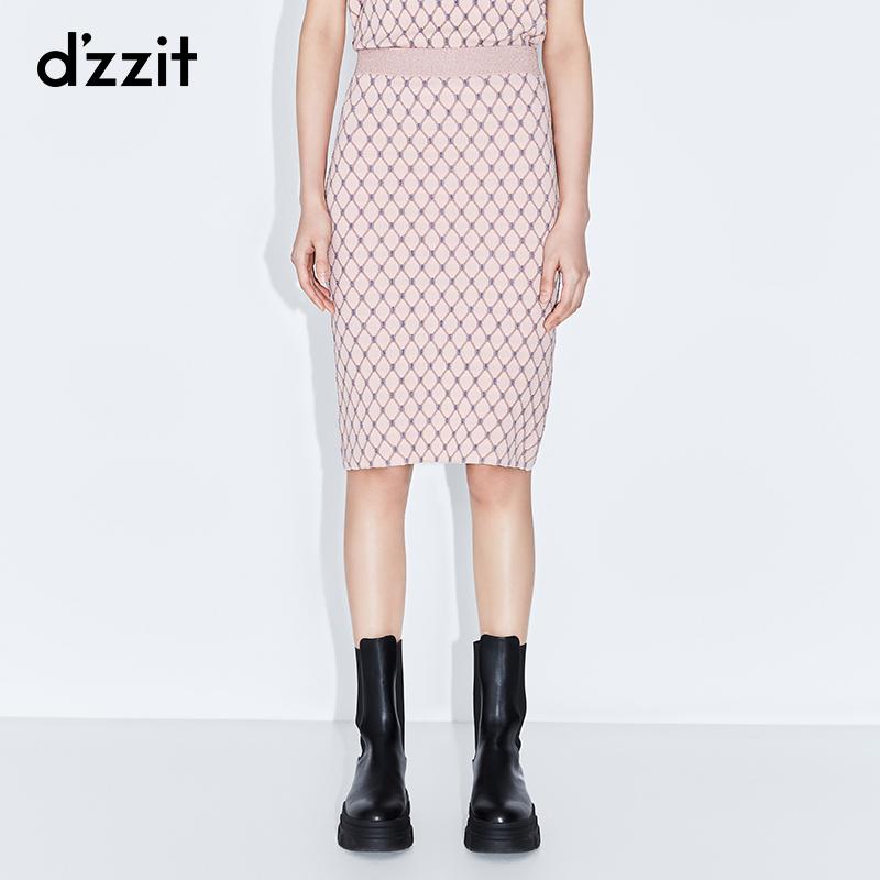 粉红色半身裙 dzzit地素 春装新款粉红色温柔葱丝网格针织半身裙女3C1E7151G_推荐淘宝好看的粉红色半身裙