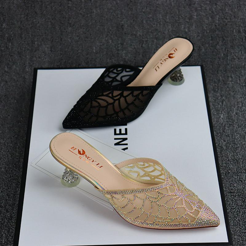 新款女士高跟凉鞋 红依利女鞋夏季新款细跟水晶鞋镂空女凉鞋包头高跟女凉拖时装拖鞋_推荐淘宝好看的女新款高跟凉鞋
