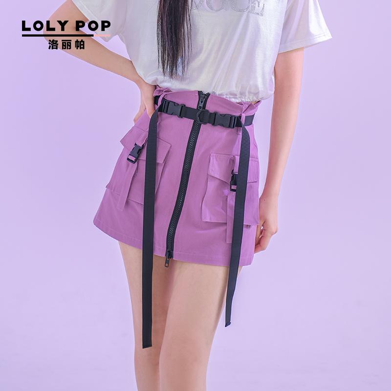 紫色半身裙 洛丽帕Lolypop飘带工装半身裙新款夏装时尚短裙女装紫色裙子_推荐淘宝好看的紫色半身裙