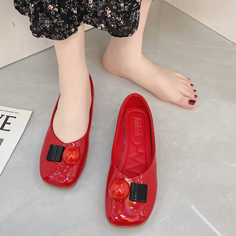 红色豆豆鞋 晚晚单鞋女2021新款小清新平底瓢鞋好看的红色豆豆鞋一脚蹬懒人鞋_推荐淘宝好看的红色豆豆鞋