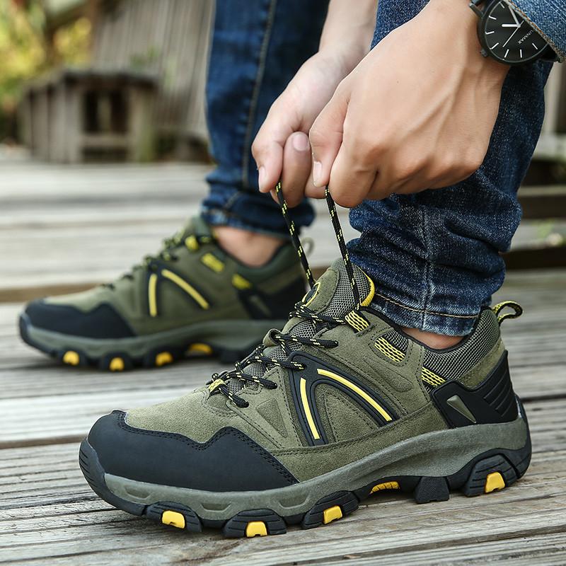 绿色厚底鞋 秋季45码男士户外登山运动鞋军绿色厚底耐磨爬山鞋轻便防滑徒步鞋_推荐淘宝好看的绿色厚底鞋