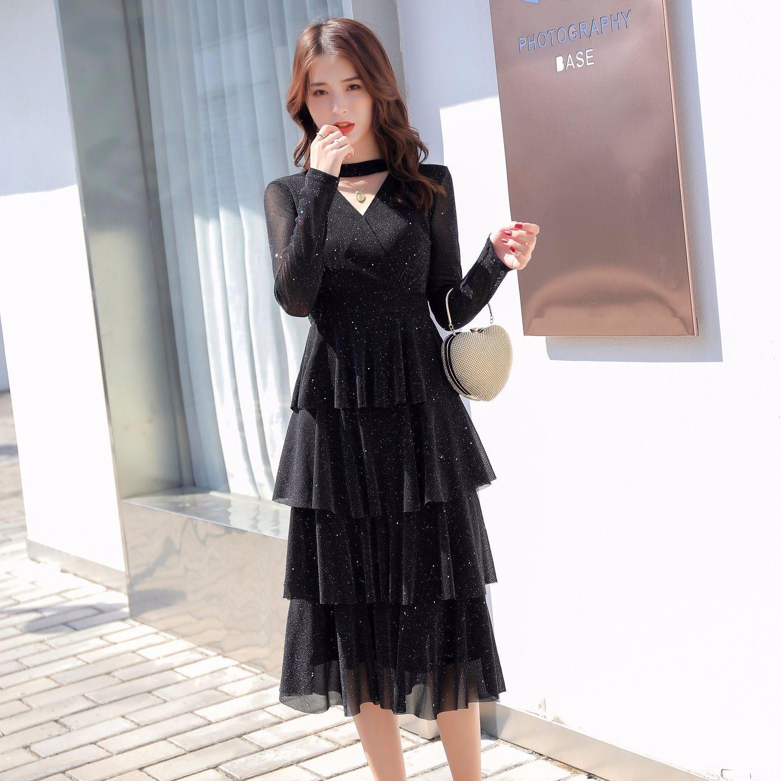 品牌连衣裙新款 2020春秋打底裙长款蛋糕连衣裙小个子显高显瘦黑色网纱亮片裙_推荐淘宝好看的连衣裙