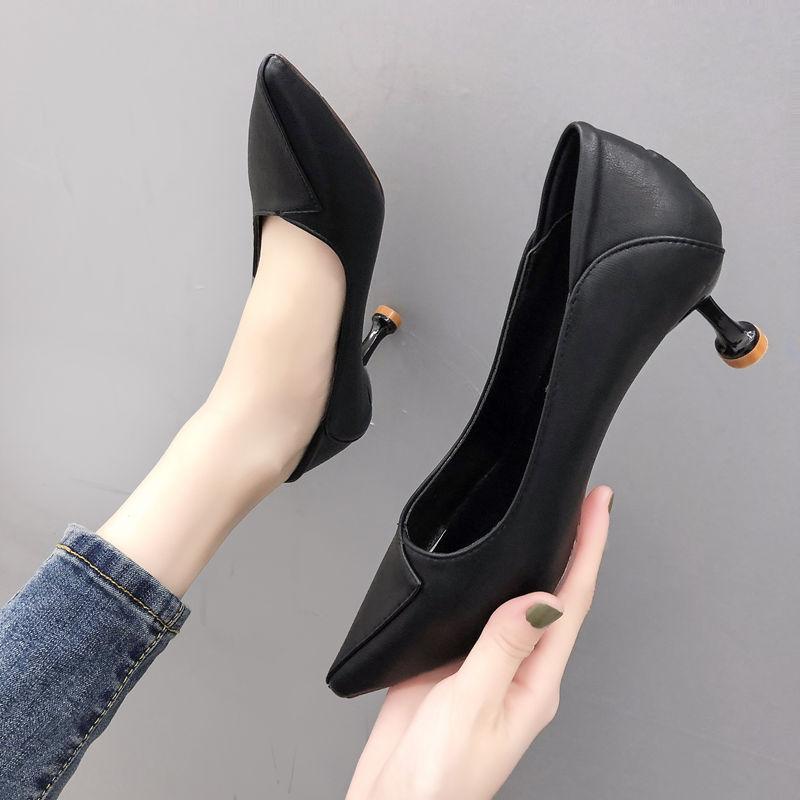 女性高跟鞋 2020新款少女高跟鞋浅口细跟女鞋尖头黑色百搭礼仪职业单鞋女皮鞋_推荐淘宝好看的女高跟鞋