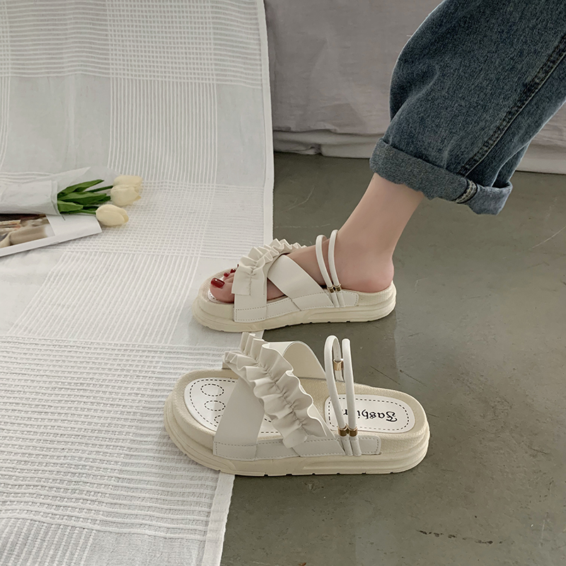 罗马女凉鞋 松糕厚底凉鞋女仙女风2020年新款夏季学生百搭罗马网红凉拖ins潮_推荐淘宝好看的女罗马凉鞋