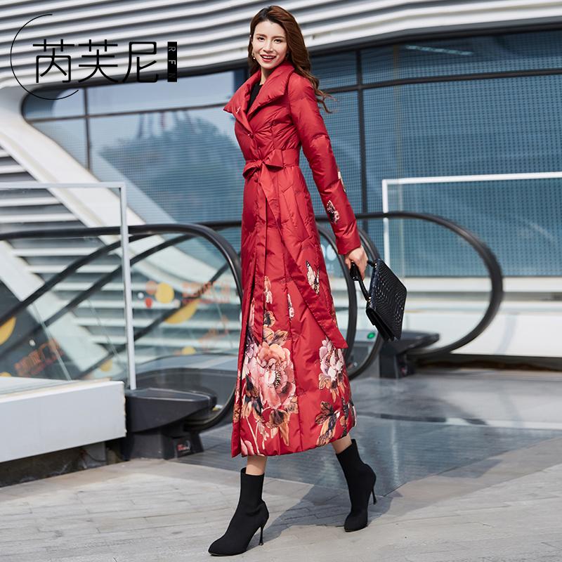 红色羽绒服 2020年冬季新款红色羽绒服女中长款长过膝韩版时尚白鸭绒收腰修身_推荐淘宝好看的红色羽绒服