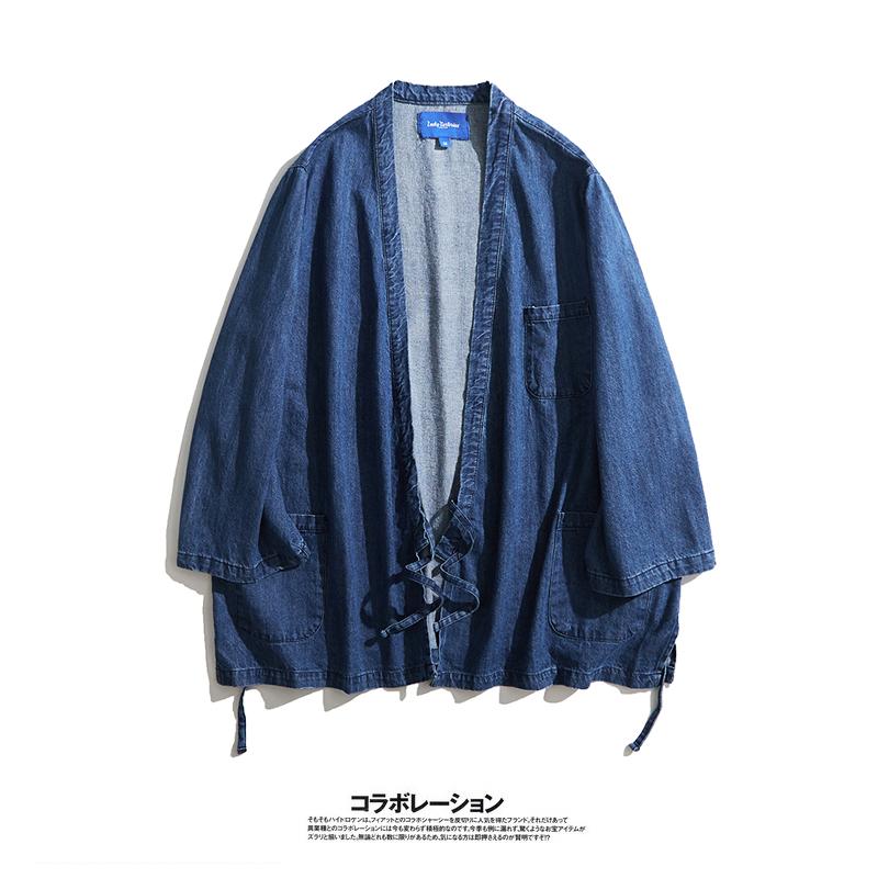 男士牛仔衬衫 日系靛蓝轻薄牛仔七分袖衬衫 原宿设计师作品手工道袍男女同款_推荐淘宝好看的男牛仔衬衫