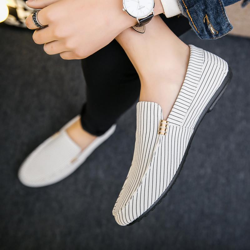 白色豆豆鞋 夏季白色豆豆鞋男韩版潮流懒人鞋休闲百搭小白鞋一脚蹬老北京布鞋_推荐淘宝好看的白色豆豆鞋