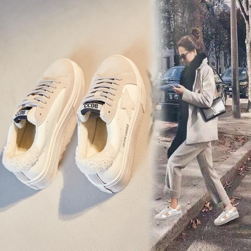 白色厚底鞋 毛毛鞋女外穿2020冬季新款网红时尚百搭厚底增高白色加绒保暖棉鞋_推荐淘宝好看的白色厚底鞋