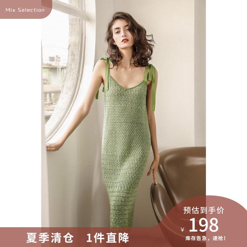 绿色连衣裙 绿色吊带连衣裙修身2021年夏季遮肉v领显瘦棉中长裙镂空连身裙_推荐淘宝好看的绿色连衣裙