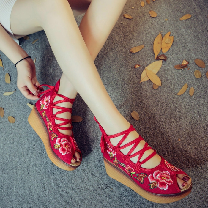 松糕鞋 女夏凉鞋子2020新款松糕鱼嘴厚底鞋女土凉鞋百搭老北京布鞋女夏天_推荐淘宝好看的女松糕鞋
