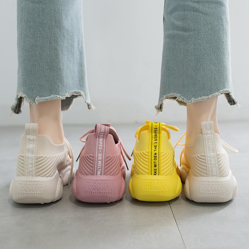 黄色运动鞋 小熊飞织运动鞋女透气黄色休闲健身跑步单鞋2020夏季款跳舞鬼步鞋_推荐淘宝好看的黄色运动鞋