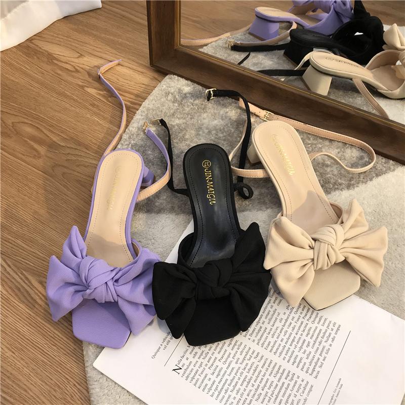 紫色鱼嘴鞋 温柔底跟凉鞋女夏DIANZZHUTUIJ气质蝴蝶结紫色方头中跟露趾高跟鞋_推荐淘宝好看的紫色鱼嘴鞋
