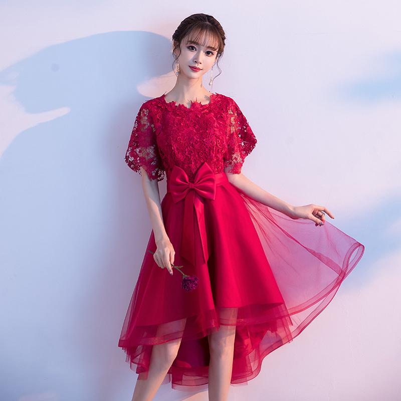 红色连衣裙 敬酒服新娘2021新款夏季结婚回门红色孕妇大码小个子礼服连衣裙女_推荐淘宝好看的红色连衣裙