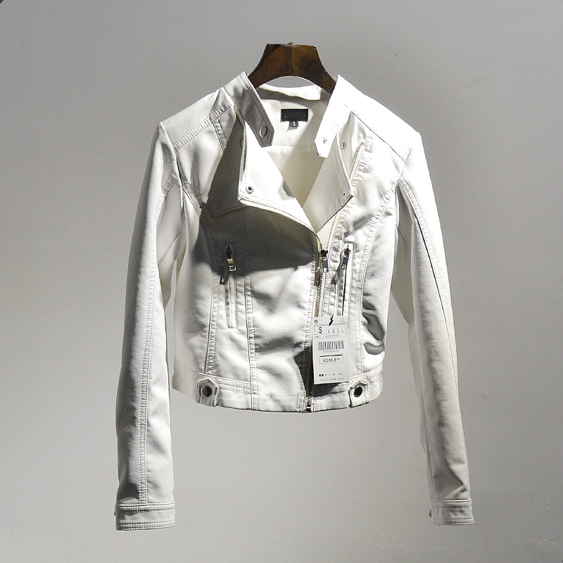 白色皮衣 高腰小皮衣女春装秋韩版立领pu皮外套修身收腰短款皮夹克显瘦时尚_推荐淘宝好看的白色皮衣